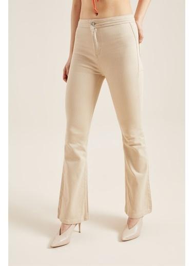 Z Giyim Yüksek Bel İspanyol Paça Pantolon Bej